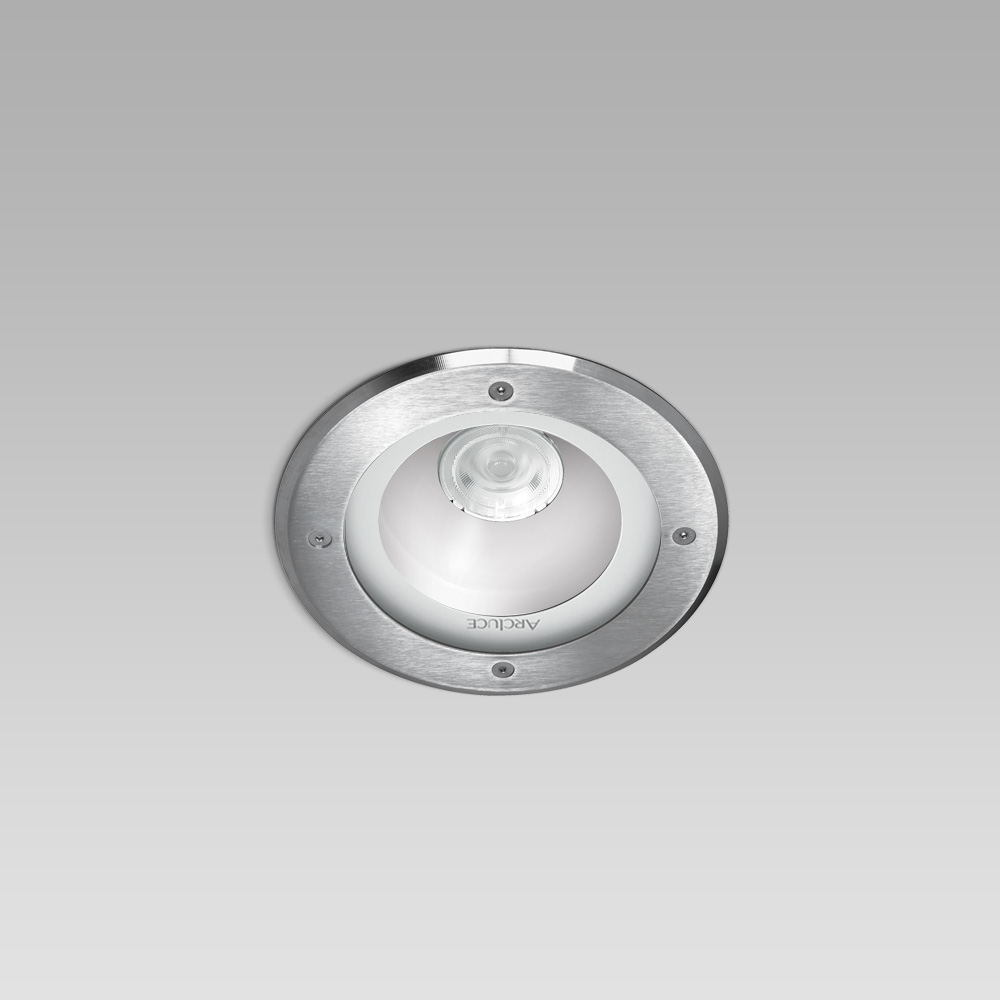 High protection degree recessed luminaires Recessed ceiling downlight with high protection degree for outdoor lighting, in aluminium and stainless steel