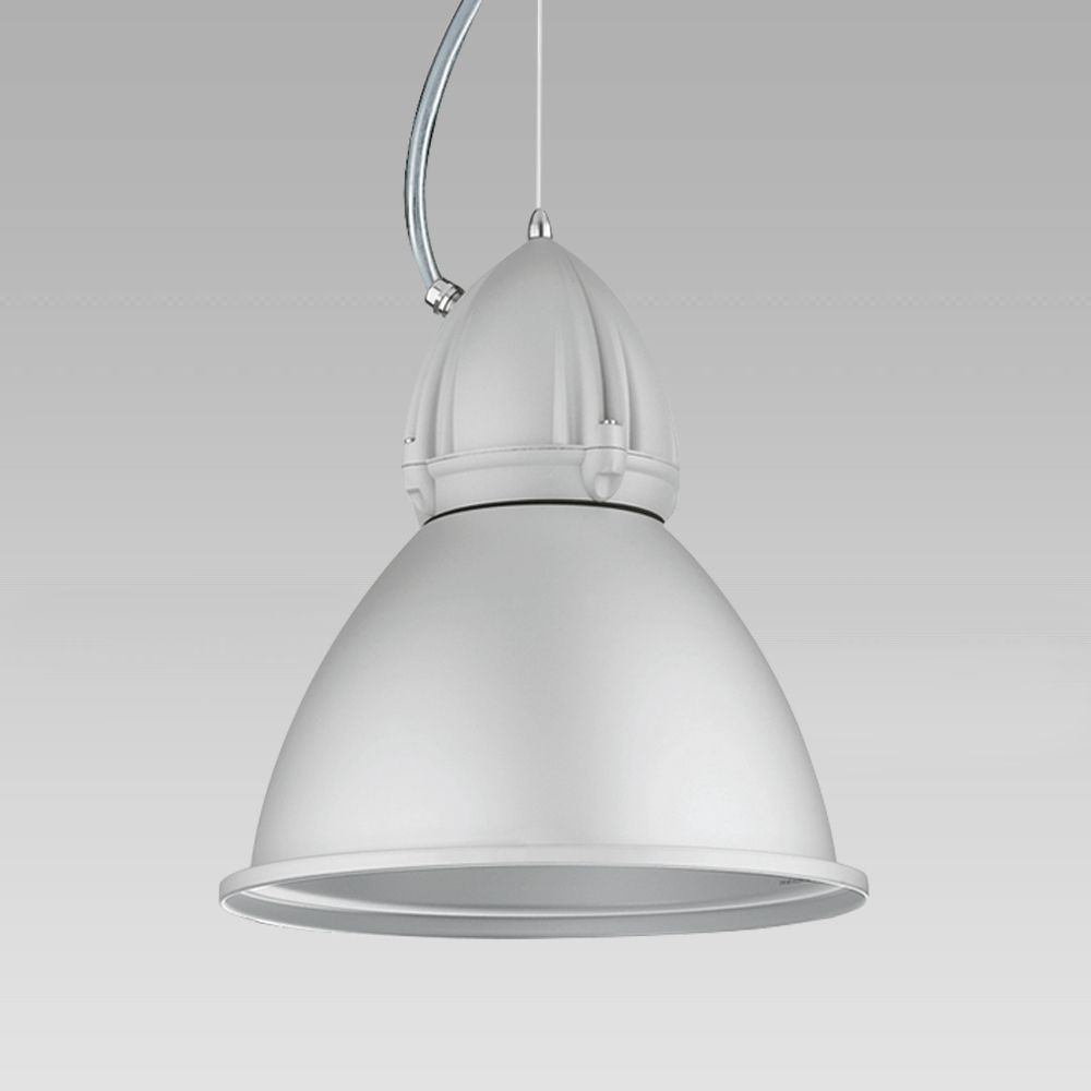 Suspended luminaire for indoor lighting, which cam also be installed on electrified tracks, featuring an industrial design