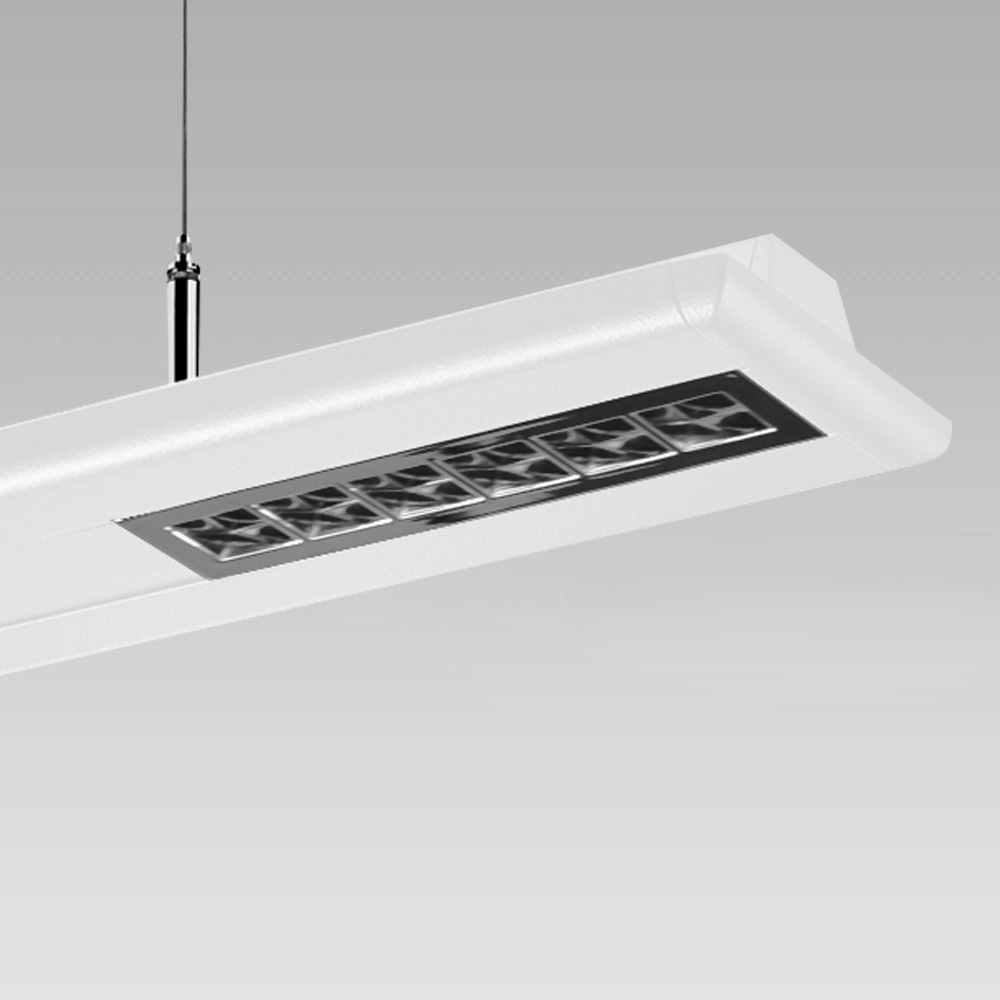 Pendant luminaire featuring elegant design and direct/indirect light optic