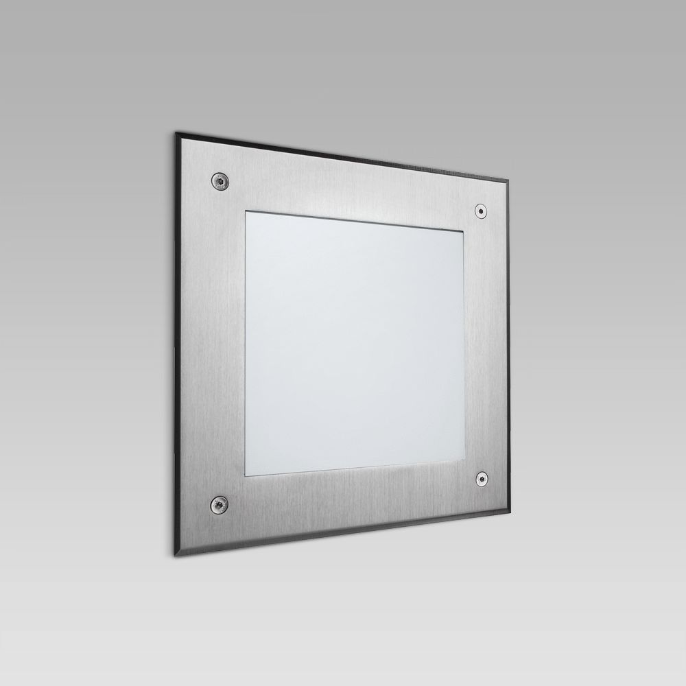 Recessed wall luminaires  Wall recessed luminaire for outdoor lighting, with a squared design and an ultra-wide light beam