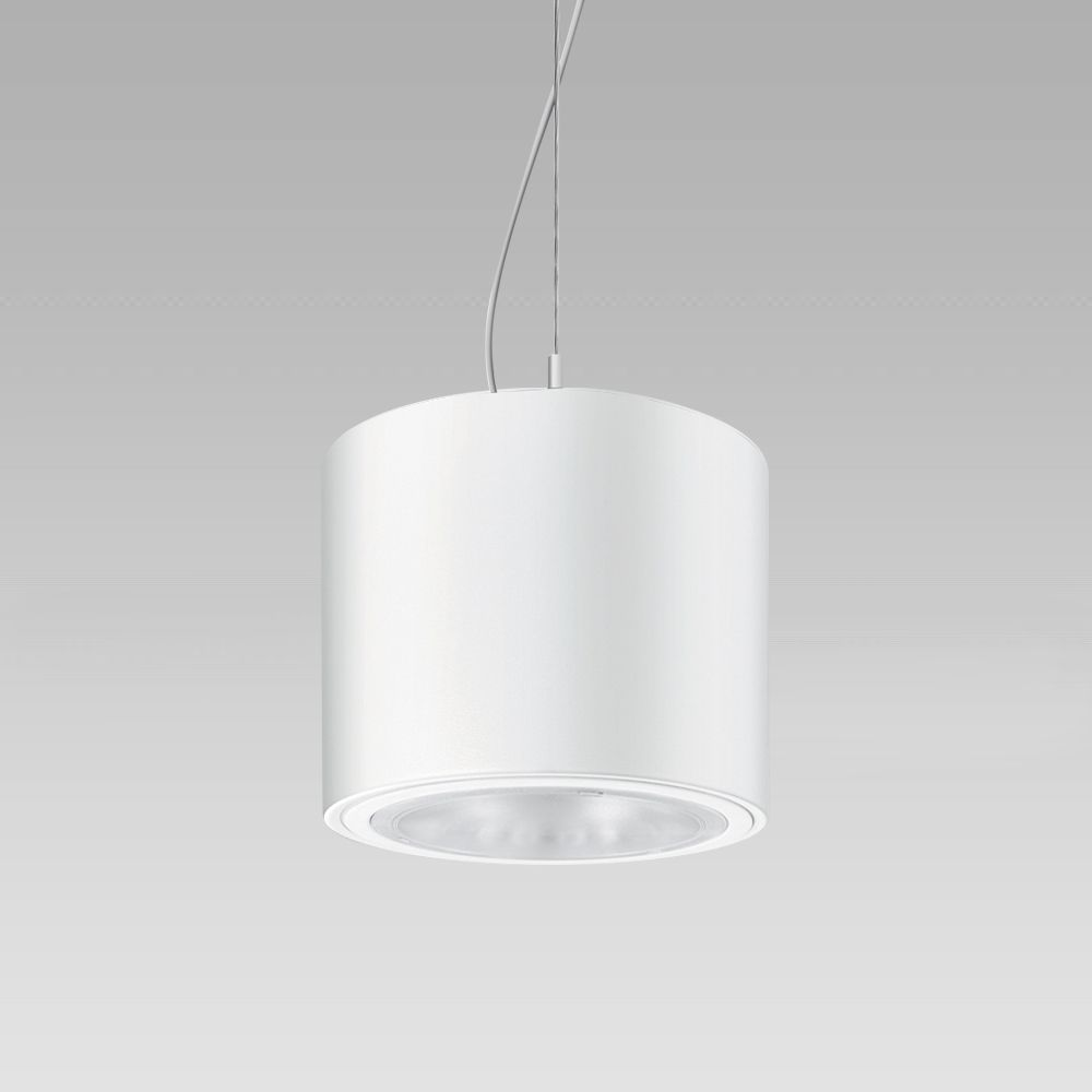 Ceiling-mounted or suspended luminaire with cylindrical shape, for a high visual comfort indoor lighting