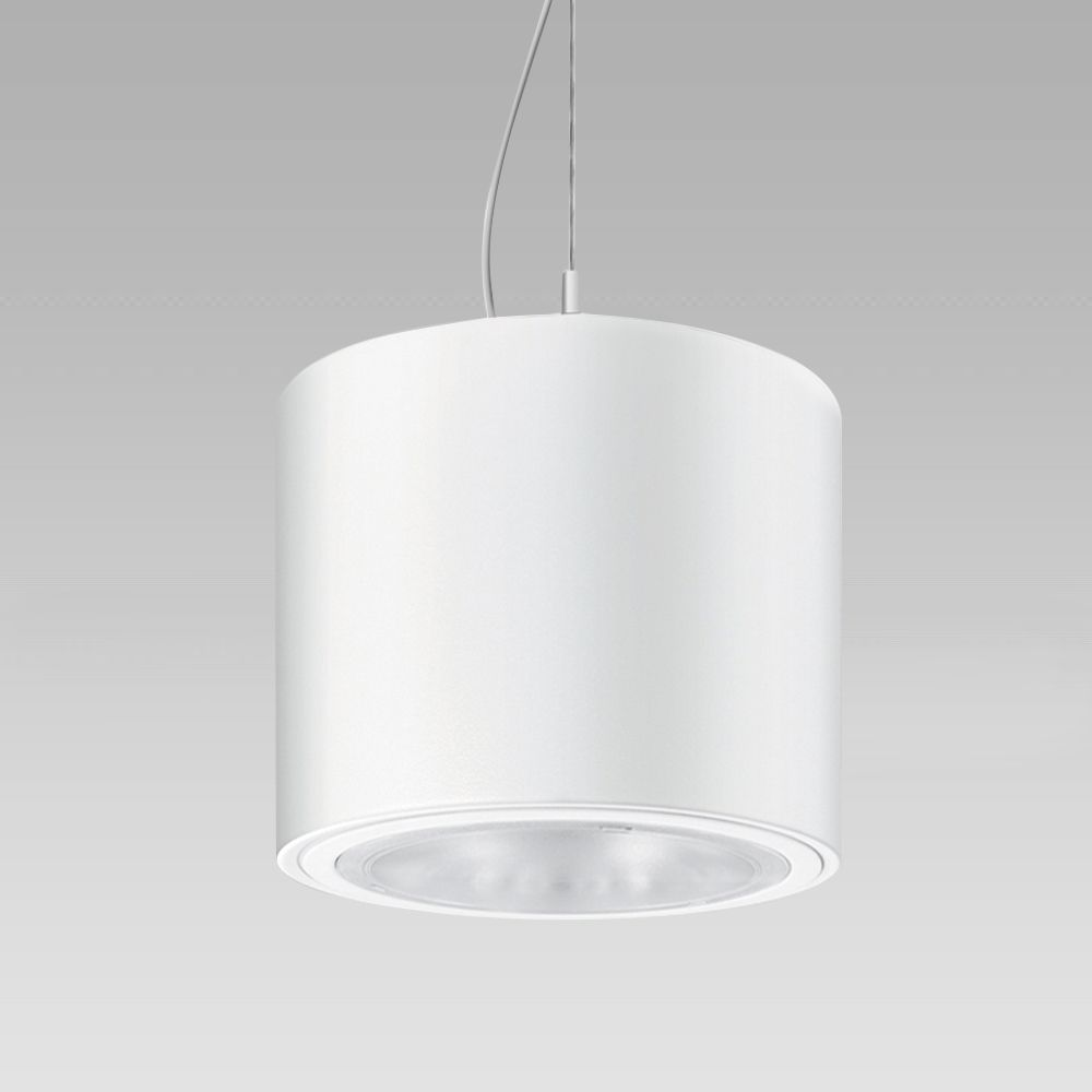 Ceilig-mounted, suspended or electrified-track downlight for indoor lighting, providing a powerful and diffused illumination