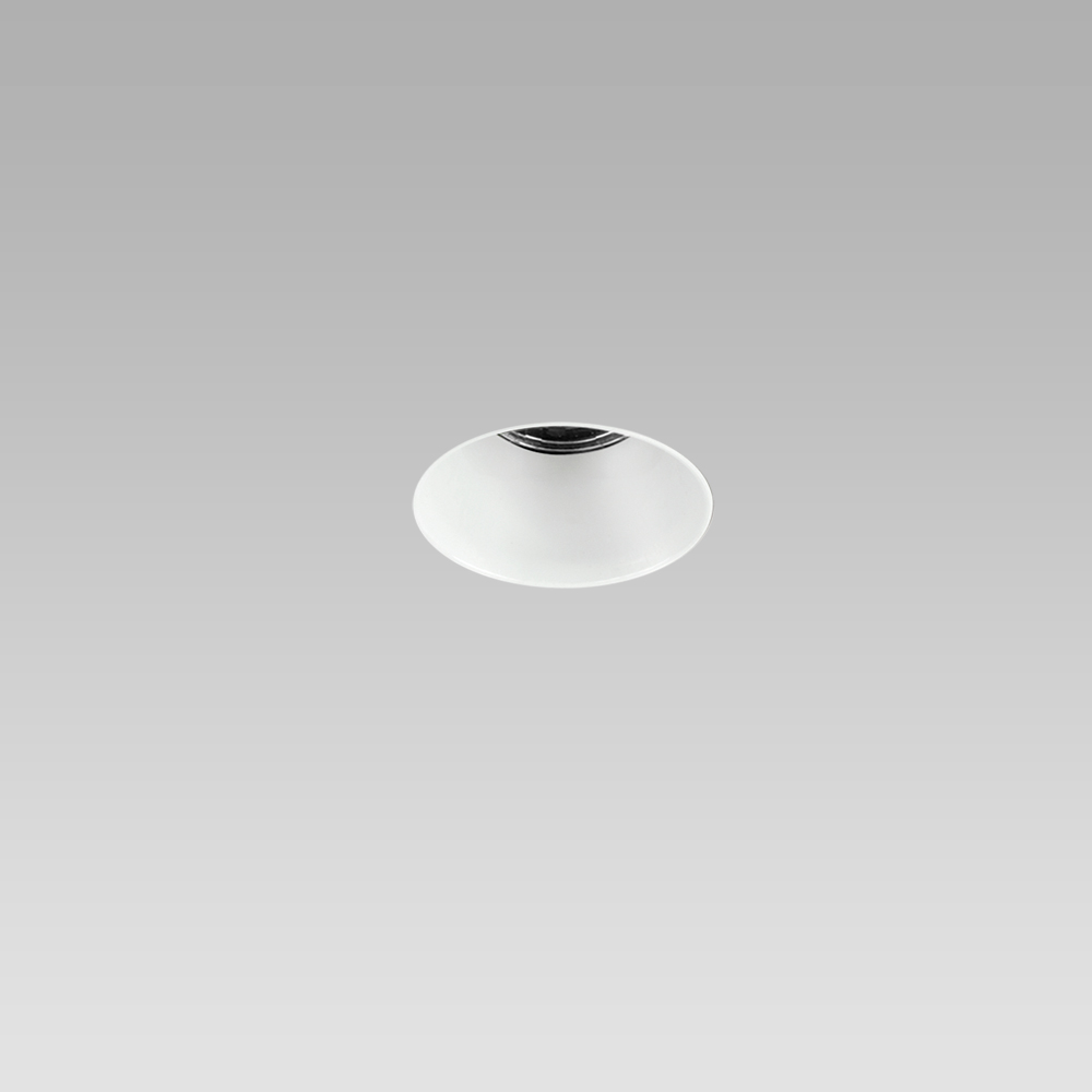 Round recessed ceiling downlight for interior lighting, trimless, with white optic