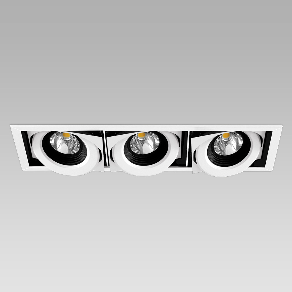 Ceiling recessed downlight for functional lighting of interiors, with adjustable spotlights - 3 spots version