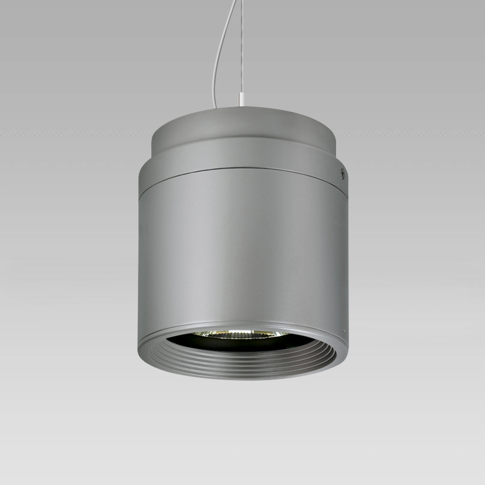 Appareils suspendus  Ceiling or suspended high-bay luminaire with an elegant cylindrical shape for the illumination of wide areas