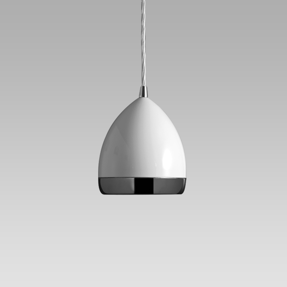 Suspended luminaire featuring a stylish design for indoor lighting; it can be installed on electrified tracks