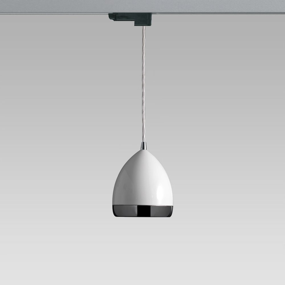 Electrified track and spotlights Suspended luminaire featuring a stylish design for indoor lighting; it can be installed on electrified tracks
