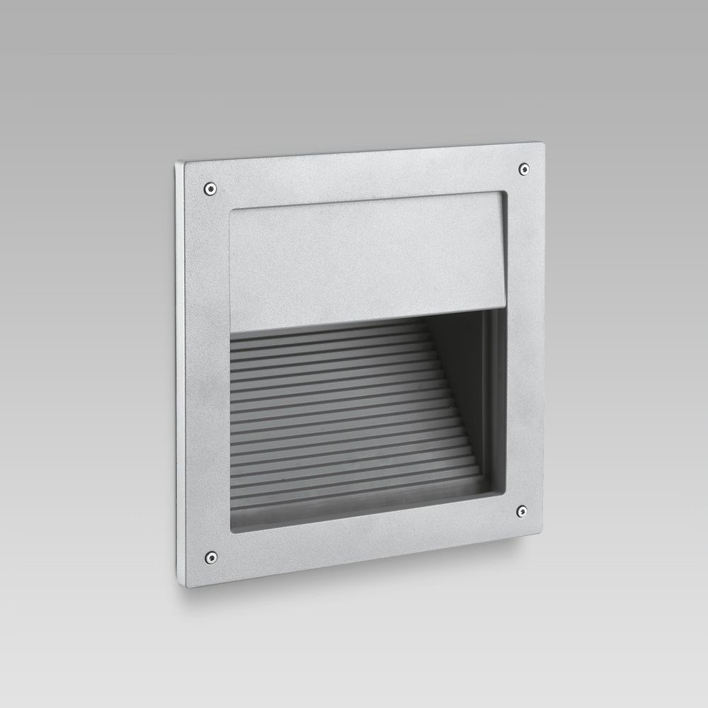 Recessed wall luminaires  Wall recessed steplight for functional lighting of outdoor areas featuring a squared design
