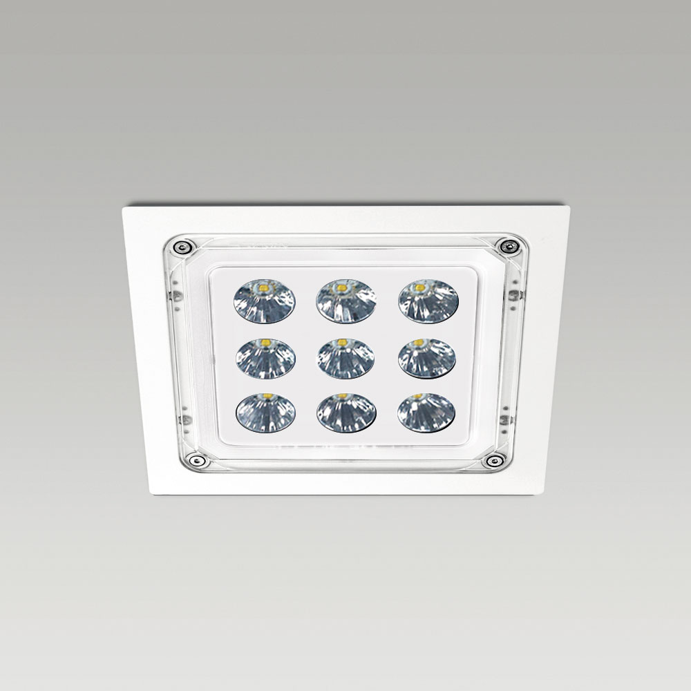 High protection degree recessed luminaires Ceiling recessed downlight for outdoor lighting with squared design