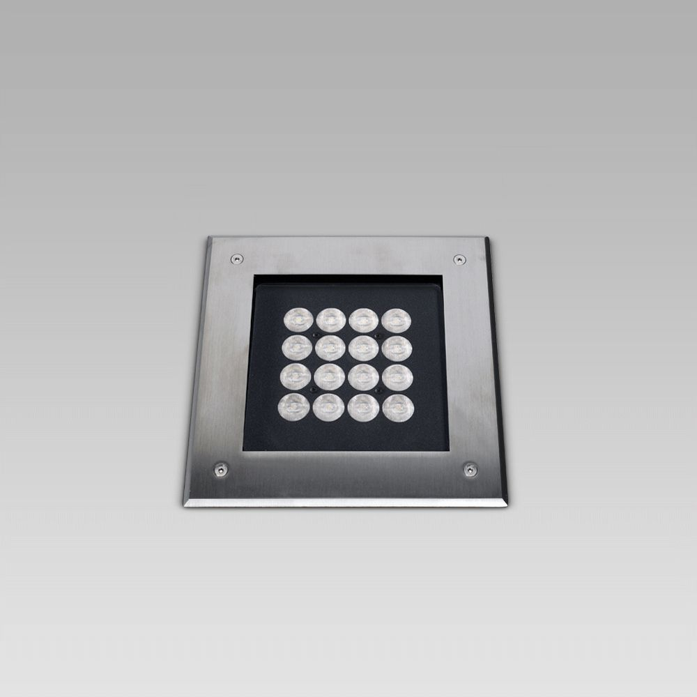 Recessed floor luminaires  In-ground recessed luminaire with squared design, elegant and resistant, to create scenographic lightpaths in architectural environments
