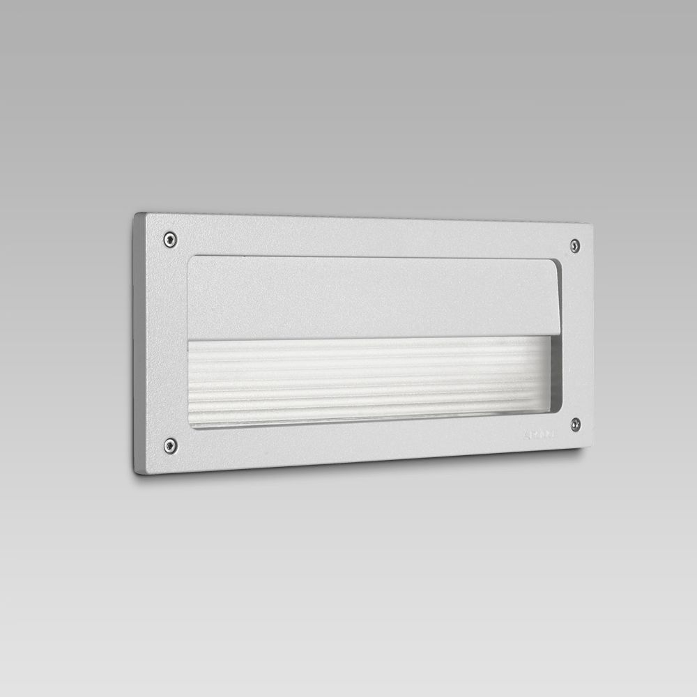Recessed wall luminaires  Wall recessed steplight for functional lighting of outdoor areas featuring a rectangular design