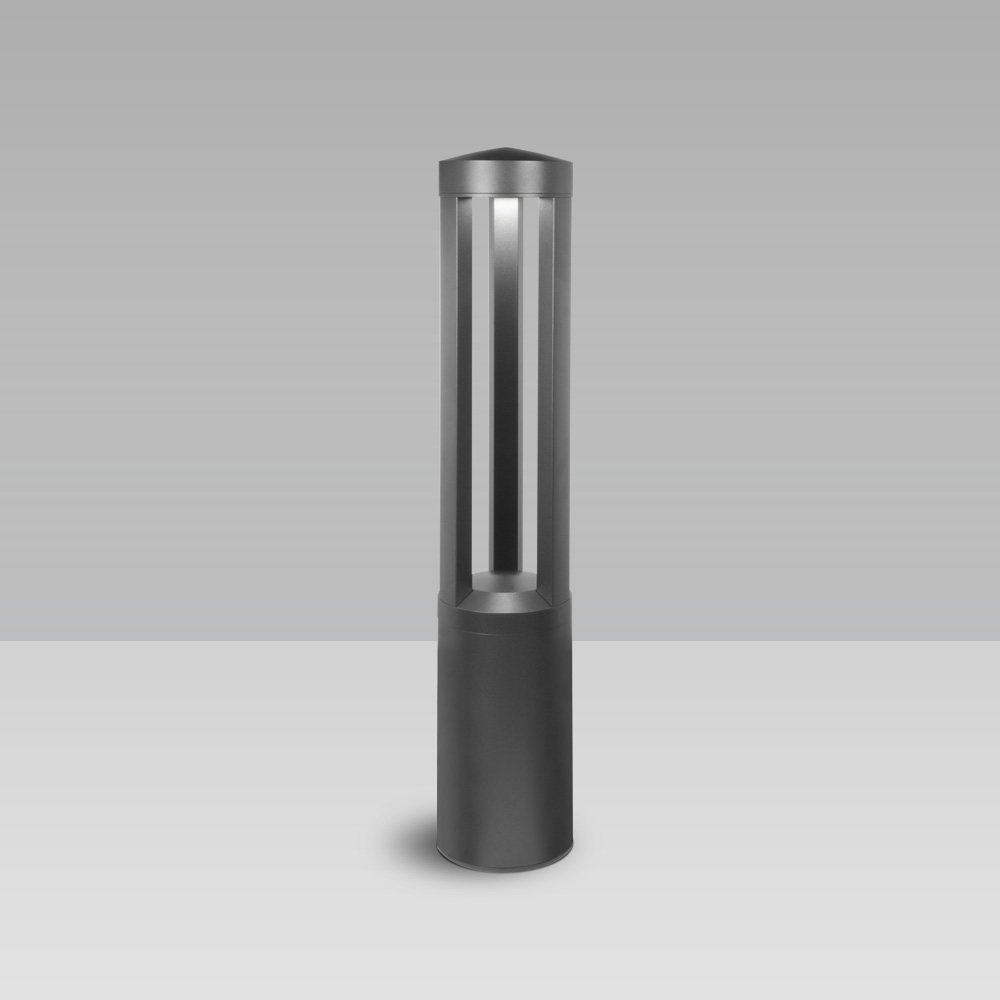 Bollard lights  Bollard light for garden and urban areas lighting, with 3 LED sources with radial optic and industrial design