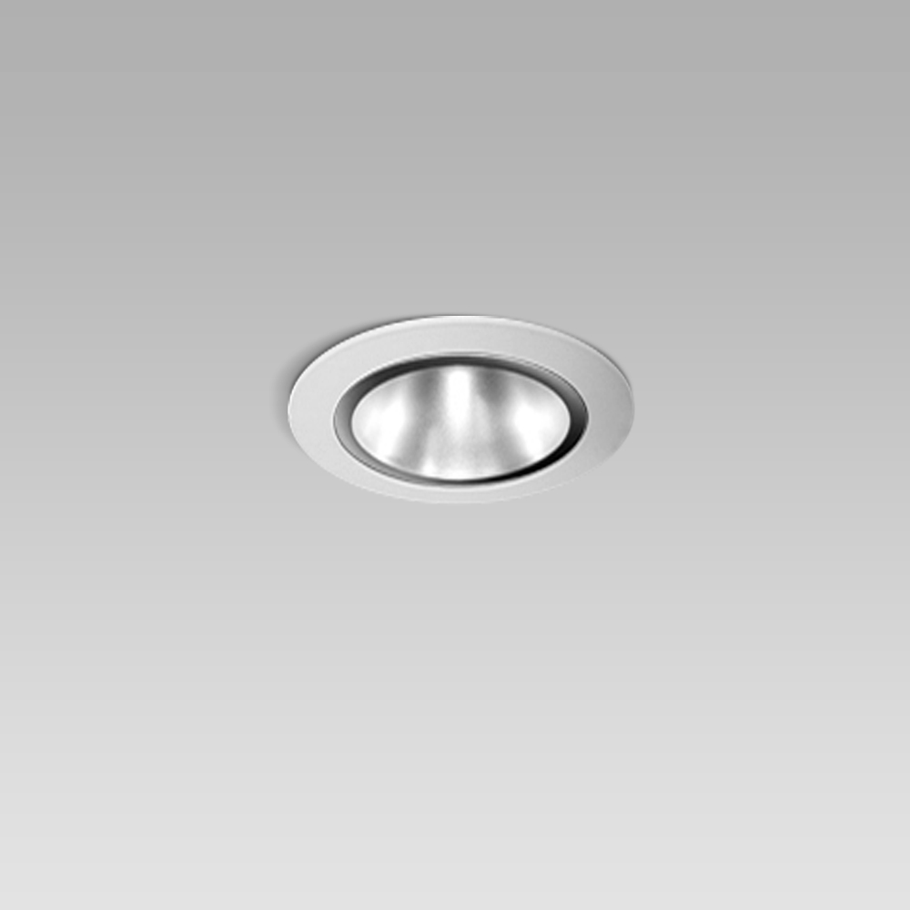Luminaires encastrés  Ceiling recessed luminaire for indoor lighting with small size and elegant design, with black or metalized optic