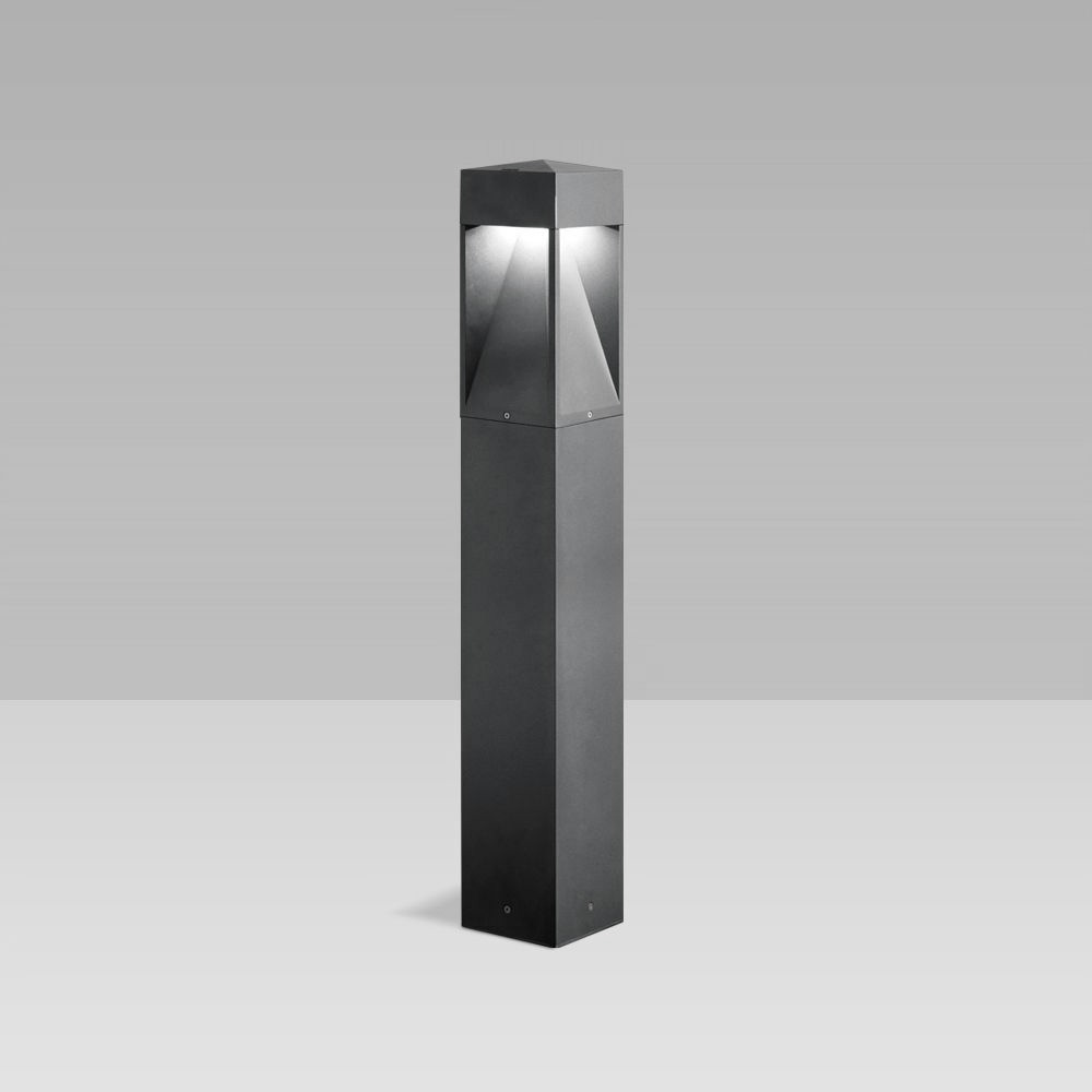 Bollard lights  Bollard light for outdoor lighting featuring a unique, gothic design, with two-way, three-way or radial optic and maximum visual comfort