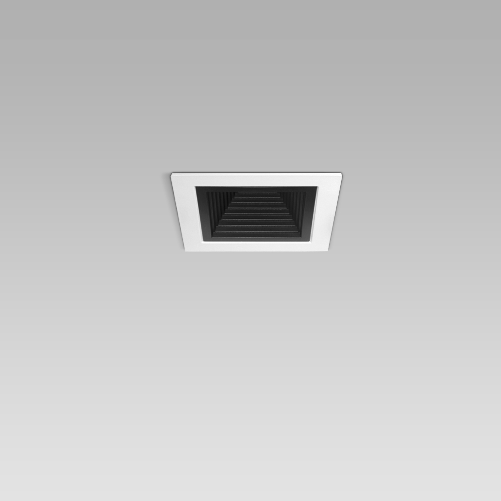 Ceiling recessed luminaire for indoor lighting with small size and elegant squared design, with black or metalized optic