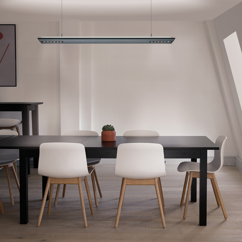 Arcluce VIZOR, suspended luminaire with direct and indirect light